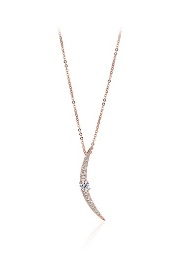 1,40 Ct Pırlanta Efekt Altın Tektaş Ay Roz Kolye-Tophills Diamond Co.